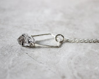 Herkimer Diamond Necklace Crystal Point Necklace Quartz Necklace Raw Gemstone Sterling Silver Necklace