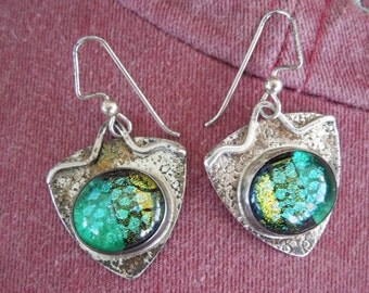Sterling Silver Earrings Dangle Long Dichroic Glass Green Gold Black