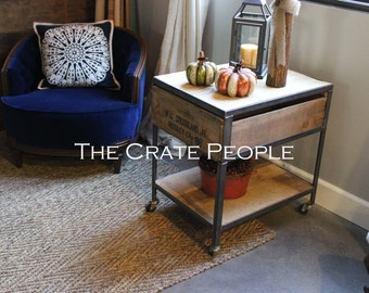 Industrial Side Table on Casters - made with Vintage Wood Crates & Barnwood
