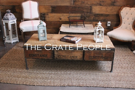 Triple Crate Coffee Table Made From Vintage Wood Crates
