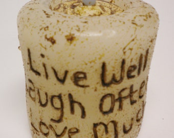 Grubby Candle with Tea Light, Primitive Candles, Decorative Candles