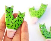 Clay Cat Cactus Brooch - Pink Pot