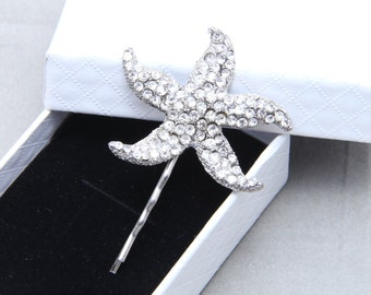 Cute Starfish Hair Clip, Flower Girl Starfish Hair Clip, Rhinestone Hair Clip, Wedding Bridal Hair Clip, Bridesmaids Hair Clip Accessories