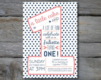 PINK and NAVY Polka Dot First Birthday
