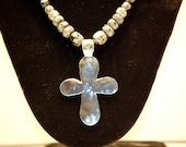 Large Silver Hammered Cross Necklace, Snowflake Obsidian Stone and Silver Cross Necklace, Silver Cross Necklace 20""