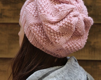 Inverness Hat - Light Pink knit slouchy style hat with triangle pattern