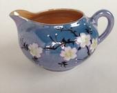 Vintage Lusterware Cherry Blossom Pattern Cream Pitcher Hand Painted Japan Blue Peach