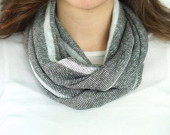 Grey and White Stripe Knit Infinity Scarf