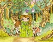 "Princess painting, kids wall art, children's illustration, girls room decor, forest friends decor ""Forest Princess"" fine art print"