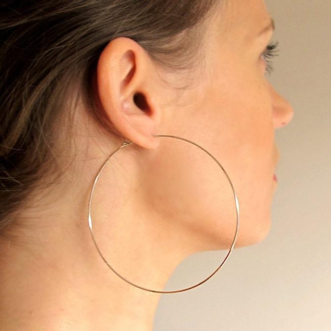 gold filled hoop earrings large 3 inch hoops