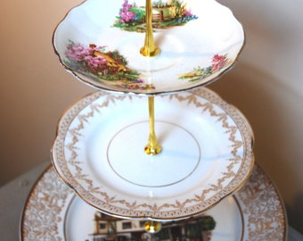 "Traditional English countryside ""Shakespeare's country"" and ""Bristol"" three tier cake stand"
