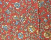 Floral Cotton Home Decor Fabric Scraps Remnants Orange with Blue Flowers Green Vines - 7 Pieces - CFL0785
