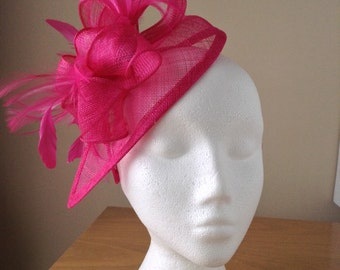 Fuchsia Hot Pink Sinamay and Feather Fascinator Formal Hat on a hair band, Kentucky Derby, Ascot, Melbourne Cup