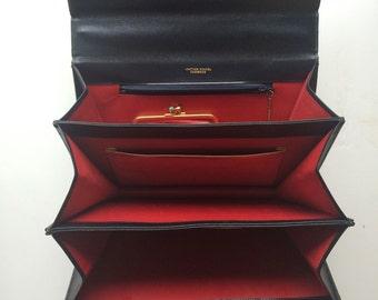Vintage Italian Leather School Florence Leather Handbag, Navy & Red Leather, Vintage Shoulder Purse