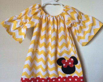Yellow/White Chevron  Mouse Peasant Dress with Red/white Polka Dot Accents