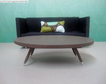 1:12th Scale Dollhouse Miniature Mid Century Modern Elliptical Oval Coffee Table in Espresso brown with  tapered legs