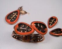 Copper Enamel Matisse Jewelry Set, 50s Book Piece, Signed Vintage