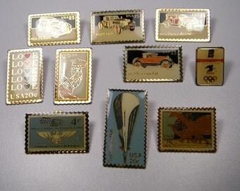 U.S. Stamp Pins, Group Of Ten, Cars, Aviation etc. , 80s Vintage