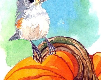 ACEO Limited Edition - Pumpkin and titmouse
