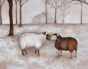 Winter Sheep, ORIGINAL ILLUSTRATION