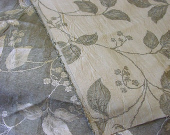 """Ivory and green woven leaves crinkled rayon acetate fabric - 56""""- BTY"""