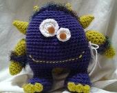 Handmade Cuddle Monster Soft Stuffed Animal Hug Monster Crochet Critter Deep Purple and Lime Green.