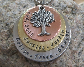 Three Metal Layered Handstamped  Family Necklace