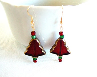 Red Christmas Tree Earrings Cute Earrings Handmade Jewelry Lamp Work Glass & Green Glass Accent Beads Stocking Stuffer Cute Gifts for Her