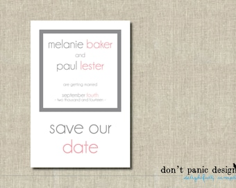 Modern Printable Save the Date Grey and Pink Postcard - Custom Colors