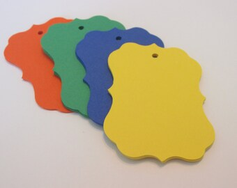 "Bright colored bracket tags, paper tags, bracket tags, wish tree tags, 2.5"" x 1.75"""