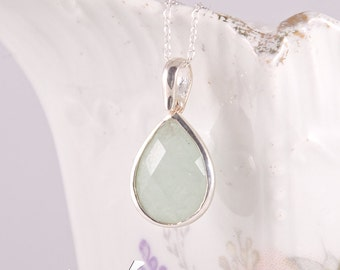 Light green natural chalcedony pendant in sterling silver, teardrop shape, faceted, small light green, mint color pendant with necklace