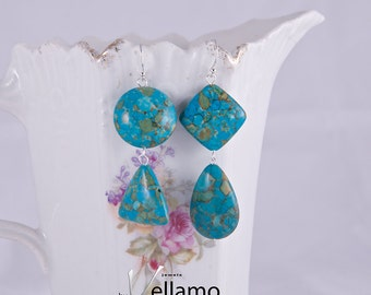 Nonsymmetrical ear-rings with mosaic copper turquoise gemstones, triangle, round, teardrop and square, modern, sterling silver, asymmetrical