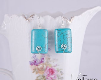 Turquoise earrings, with blue rectangle shaped turquoise gemstones, modern, sterling silver, textured wire