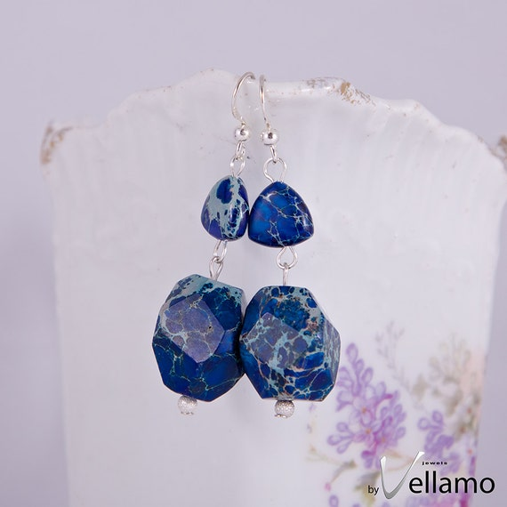 Sterling silver earrings with aqua terra jasper, blue stone earrings, dangle chunky irregular shaped dark blue stones