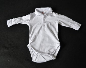 White Collared Bodysuit with poppers. Shirt Collar and Cuffs. Various sizes