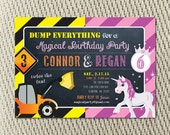 Joint Birthday Party - Siblings - Girl - Boy - Twins - Construction and Magical Unicorn Invitation: Digital File