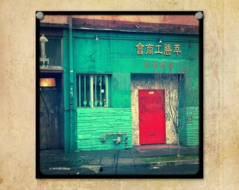 Door Photography Red Chinatown Portland Oregon--Fine Art Photography 8x8