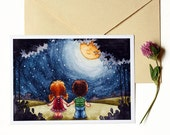 Handmade card and envelope - single or set of 3 cards. I'm wishing from a star