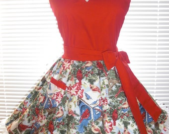 Retro Apron Winter Birds and Snow with Satin Edged Organza Trimming