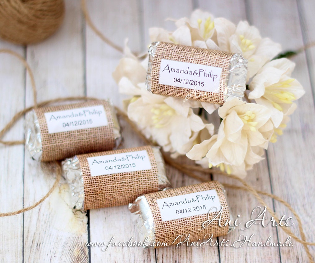 Burlap wedding favors mini hershey wrapper custom diy for Wedding favor supplies
