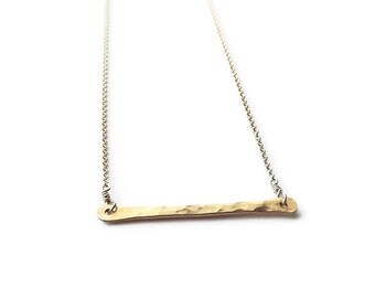 Layering Bar Necklace - Gold Filled Hammered Bar Necklace - Everyday Necklace - Gold Filled Bar Necklace - Gold Necklace