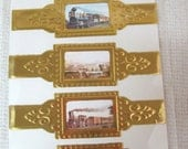 Lot of 5 Vintage Never Used Foil Vintage Steam Trains Railroad Cigar Bands Band Amazing Artwork DR2