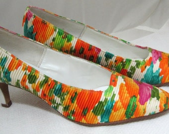 Incredible Citrus Floral High Heels Women's Shoes Sz 7 Narrow