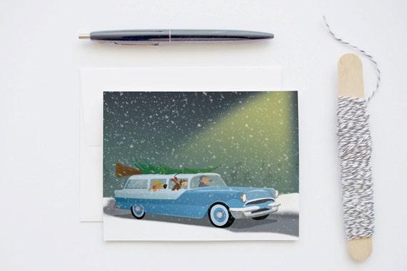 Bringing Home the Tree Vintage Retro Sation Wagon Car Christmas Blank Greeting Card