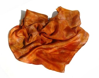 Rusty brown Burnt orange painted silk scarf only color scarf