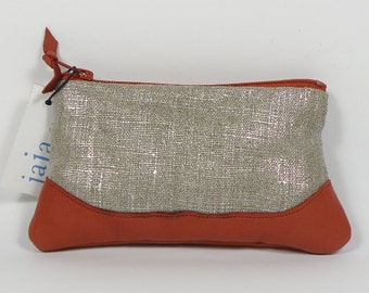 """Coin purse LOUISE ANNA shiny linen, """"cuivre"""" leather"""