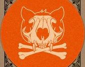 Slipmat - Cat Skull - Orange and Cream - Turntable Slipmat