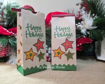 CHRISTMAS BAGS 12 Christmas Kraft Tin Tie Bags, 1/2 lb., favor, treats, coffee, gifts, showers