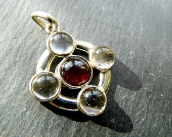 Silver Pendant, 5 stones, silver, Garnet, quartz crystal, Satelit, esoteric, planet