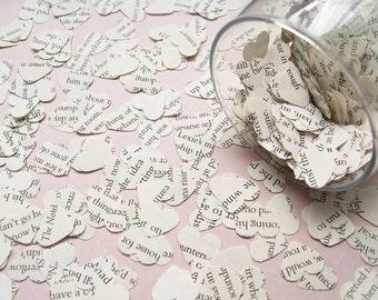 1000 Heart Book Novel Confetti - 22 choices include Jane Austen, Alice in Wonderland, Great Gatsby, Harry Potter, Shakespeare Wedding Decor